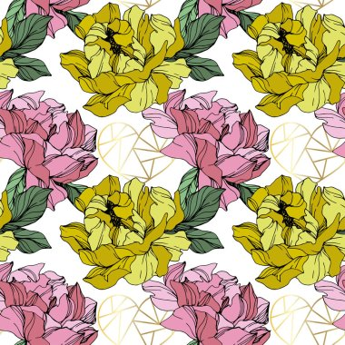 Vector Pink and yellow peony. Floral botanical flower. Wild spring leaf wildflower isolated. Engraved ink art. Seamless background pattern. Fabric wallpaper print texture. clip art vector