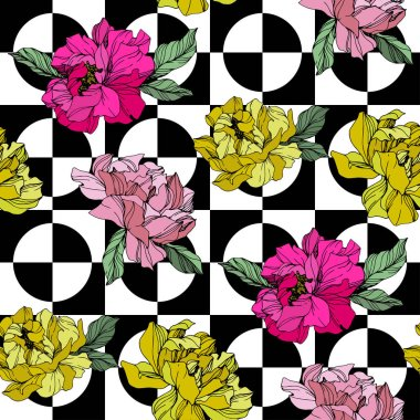 Vector Pink and yellow peony. Floral botanical flower. Wild spring leaf wildflower isolated. Engraved ink art. Seamless background pattern. Fabric wallpaper print texture. stock vector