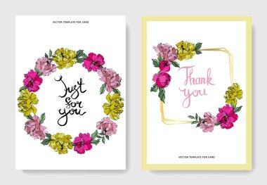 Vector Pink and yellow peony. Floral botanical flower. Engraved ink art. Wedding background card floral decorative border. Thank you, rsvp, invitation elegant card illustration graphic set banner. clip art vector