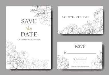 Vector Silver peony. Floral botanical flower. Engraved ink art. Wedding background card floral decorative border. Thank you, rsvp, invitation elegant card illustration graphic set banner. clip art vector