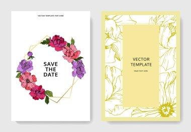 Vector Purple and pink peony. Floral botanical flower. Engraved ink art. Wedding background card floral decorative border. Thank you, rsvp, invitation elegant card illustration graphic set banner. stock vector