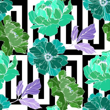 Vector Green peony. Floral botanical flower. Wild spring leaf wildflower isolated. Engraved ink art. Seamless background pattern. Fabric wallpaper print texture. clip art vector