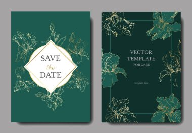 Vector Blue, purple and yellow iris botanical flower. Engraved ink art. Wedding background card floral decorative border. Thank you, rsvp, invitation elegant card illustration graphic set banner. clip art vector