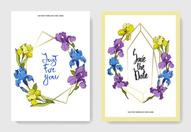 Vector wedding invitation cards with irises and lettering clip art vector