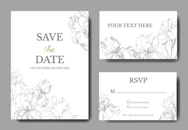 Vector wedding invitation cards with irises and lettering stock vector