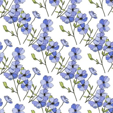 Vector Blue flax. Floral botanical flower. Wild spring leaf wildflower isolated. Engraved ink art. Seamless background pattern. Fabric wallpaper print texture. clip art vector