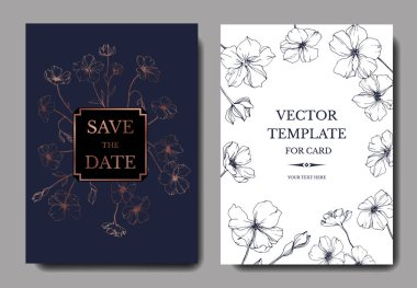 Vector wedding invitation cards templates with flax illustration. clip art vector