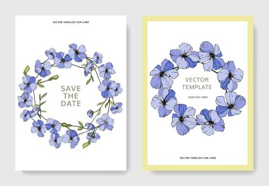 Vector wedding invitation cards templates with flax illustration. stock vector