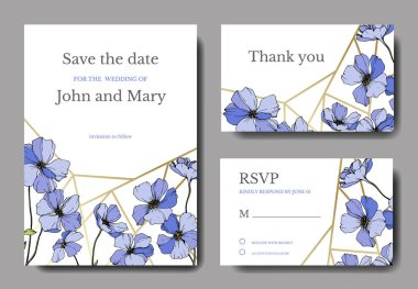 Vector wedding invitation cards templates with flax illustration. clip art vector