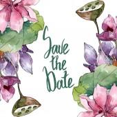 Lotus virág botanikai virágok. Vad tavaszi levél vadvirág elszigetelt. Akvarell háttér illusztráció meg. Akvarell rajz divat Aquarelle elszigetelt. Keretszegély Dísz tér.