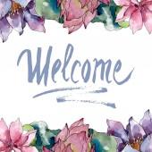Fényképek Lotus virág botanikai virágok. Vad tavaszi levél vadvirág elszigetelt. Akvarell háttér illusztráció meg. Akvarell rajz divat Aquarelle elszigetelt. Keretszegély Dísz tér.