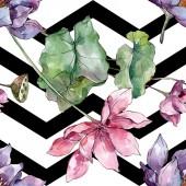 Květinové botanické květiny. Divoké květinové listy. Akvarel na obrázku. Akvarel na kreslicím módu. Bezespání vzorek pozadí. Textura pro tisk tapety.