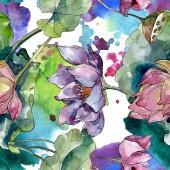 Lotusblüten, botanische Blumen. wilde Frühlingsblume. Aquarell-Illustrationsset vorhanden. Aquarell zeichnen Mode-Aquarell. nahtlose Hintergrundmuster. Stoff Tapete drucken Textur.