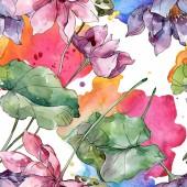 Fotografie Lotus Blumen botanische Blumen. Wilde Frühlingsblatt Wildblume. Aquarell-Illustration-Set. Aquarell Zeichnung Mode Aquarell. Nahtloses Hintergrundmuster. Stoff Tapete Druck Textur.