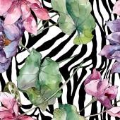 Lotus virág botanikai virágok. Vad tavaszi levél vadvirág. Akvarell illusztráció meg. Akvarell rajz divat Aquarelle. Folytonos háttérmintázat. Szövet tapéta nyomtatási textúra.