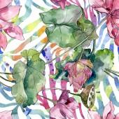 Fényképek Lotus virág botanikai virágok. Vad tavaszi levél vadvirág. Akvarell illusztráció meg. Akvarell rajz divat Aquarelle. Folytonos háttérmintázat. Szövet tapéta nyomtatási textúra.