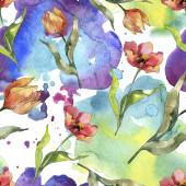 Vörös tulipán virágos botanikus virág. Vad tavaszi levél vadvirág. Akvarell illusztráció meg. Akvarell rajz divat Aquarelle. Folytonos háttérmintázat. Szövet tapéta nyomtatási textúra.