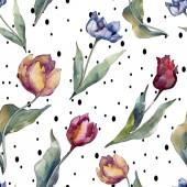 Tulipán květinové botanické květy. Divoké květinové listí. Akvarel na obrázku. Akvarel na kreslicím módu. Bezespání vzorek pozadí. Textura pro tisk tapety.