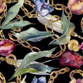 Tulipán virágos botanikus virágok. Vad tavaszi levél vadvirág elszigetelt. Akvarell illusztráció meg. Akvarell rajz divat Aquarelle. Folytonos háttérmintázat. Szövet tapéta nyomtatási textúra.