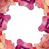 Květinové květiny. Vodný obrázek pozadí-barevný. Orámovaná hranatá hranice.