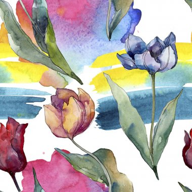 Tulip floral botanical flowers. Wild spring leaf wildflower isolated. Watercolor illustration set. Watercolour drawing fashion aquarelle. Seamless background pattern. Fabric wallpaper print texture. stock vector