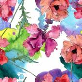 Poppy floral botanical flower. Watercolor background illustration set. Seamless background pattern.