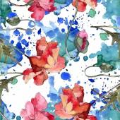 Mohn Blumen botanische Blume. Aquarell-Hintergrund-Illustration-Set. Nahtloses Hintergrundmuster.