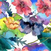 Poppy virágos botanikus virág. Vad tavaszi levél vadvirág. Akvarell illusztráció meg. Akvarell rajz divat Aquarelle. Folytonos háttérmintázat. Szövet tapéta nyomtatási textúra.
