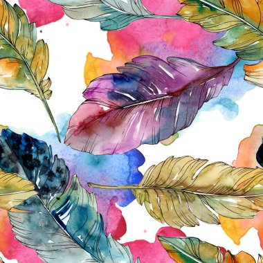 Colorful bird feather from wing isolated. Watercolor background illustration set. Watercolour drawing fashion aquarelle isolated. Seamless background pattern. Fabric wallpaper print texture. stock vector