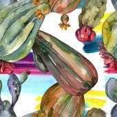 Kaktus blühende botanische Blumen. wilde Frühlingsblume. Aquarell-Illustrationsset vorhanden. Aquarell zeichnen Mode-Aquarell. nahtlose Hintergrundmuster. Stoff Tapete drucken Textur.