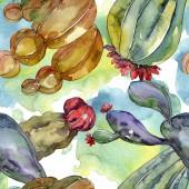 Fotografie Kaktus květinové botanické květy. Divoké květinové listy. Akvarel na obrázku. Akvarel na kreslicím módu. Bezespání vzorek pozadí. Textura pro tisk tapety.
