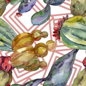 Kaktus květinové botanické květy. Divoké květinové listy. Akvarel na obrázku. Akvarel na kreslicím módu. Bezespání vzorek pozadí. Textura pro tisk tapety.