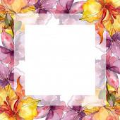 Orchidea virág botanikai virágok. Vad tavaszi levél vadvirág. Akvarell háttér illusztráció meg. Akvarell rajz divat Aquarelle. Keretszegély Dísz tér.