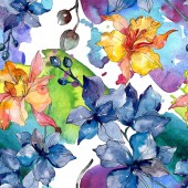 Orchidea virág botanikai virágok. Vad tavaszi levél vadvirág. Akvarell illusztráció meg. Akvarell rajz divat Aquarelle. Folytonos háttérmintázat. Szövet tapéta nyomtatási textúra.