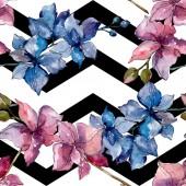 Fotografie Květinové botanické květiny. Divoké květinové listy. Akvarel na obrázku. Akvarel na kreslicím módu. Bezespání vzorek pozadí. Textura pro tisk tapety.