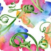 Grüne saftige Blumen botanische Blumen. Aquarell-Hintergrund-Illustration-Set. Nahtloses Hintergrundmuster.