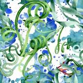 Green succulent floral botanical flowers. Watercolor background illustration set. Seamless background pattern.
