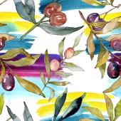 Fotografie Olivová složka s černým a zeleným ovocem. Vodný obrázek pozadí-barevný. Akvarel na kreslicím módu Aquarelle. Bezespání vzorek pozadí. Textura pro tisk tapety.