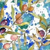 Olivenzweig mit schwarz-grüner Frucht. Bild-und Hintergrundillustration. Aquarell Zeichnen Mode aquarelle isoliert. Nahtloses Hintergrundmuster. Stoff-Tapete bedrucken Textur.