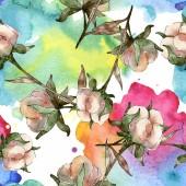 Fehér pamut virágos botanikai virágok. Akvarell illusztráció meg. Folytonos háttérmintázat. Háttérkép nyomtatási textúra.