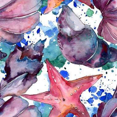 Summer beach seashell tropical elements. Watercolor background illustration set. Watercolour drawing fashion aquarelle isolated. Seamless background pattern. Fabric wallpaper print texture. stock vector