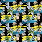 Bílé bavlněné květinové botanické květy. Akvarel na obrázku. Bezespání vzorek pozadí. Textura tisku tapety.