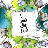 Pamut botanikai virágok. Akvarell háttér illusztráció meg elszigetelt fehér. Keret szegély dísz mentéséhez a dátumfelirat.