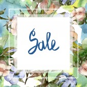 Baumwollbotanische Blumen. Aquarell-Hintergrundillustration isoliert auf weiß gesetzt. Rahmen Bordüre Ornament mit Verkauf Schriftzug.