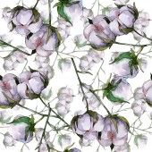 Fotografia Fiore botanico floreale in cotone. Fiore selvatico di foglia selvatica. Set di illustrazioni ad acquerello. Disegno ad acquerello moda aquarelle. Modello di sfondo senza soluzione di continuità. Tessuto carta da parati stampa texture.
