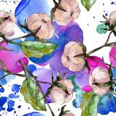 Baumwolle Floral botanische Blume. Wilde Frühlingsblatt Wildblume. Aquarell-Illustration-Set. Aquarell Zeichnung Mode Aquarell. Nahtloses Hintergrundmuster. Stoff Tapete Druck Textur.
