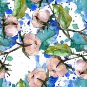 Pamut virág botanikai. Vad tavaszi levél vadvirág. Akvarell illusztráció meg. Akvarell rajz divat Aquarelle. Folytonos háttérmintázat. Szövet tapéta nyomtatási textúra.