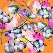 Baumwolle Blumen botanische Blume. wilde Frühlingsblume. Aquarell-Illustrationsset vorhanden. Aquarell zeichnen Mode-Aquarell. nahtlose Hintergrundmuster. Stoff Tapete drucken Textur.