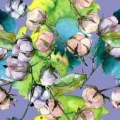 Fotografie Baumwolle Floral botanische Blume. Wilde Frühlingsblatt Wildblume. Aquarell-Illustration-Set. Aquarell Zeichnung Mode Aquarell. Nahtloses Hintergrundmuster. Stoff Tapete Druck Textur.