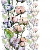 Květinový květináč. Divoké květinové listy. Akvarel na obrázku. Akvarel na kreslicím módu. Bezespání vzorek pozadí. Textura pro tisk tapety.